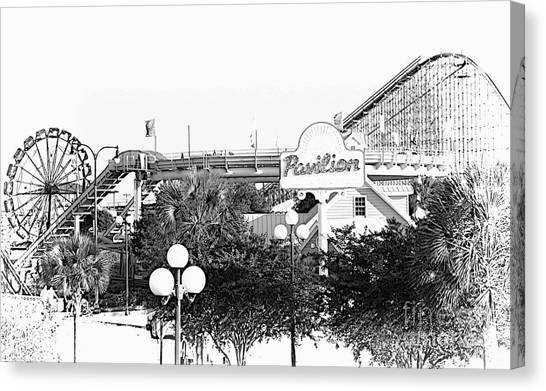 Myrtle Beach Pavillion Amusement Park Monotone Canvas Print