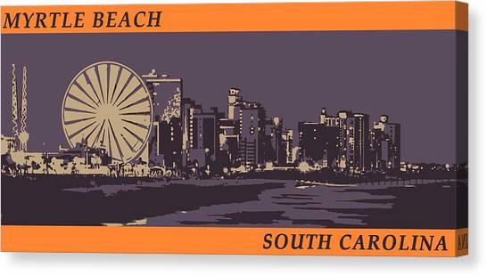 Canvas Print featuring the digital art Myrtle Beach, Sc Skyline by Jennifer Hotai
