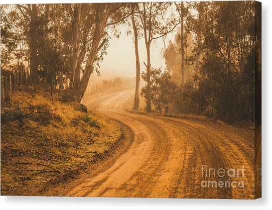 Dirt Road Canvas Print - Mysterious Autumn Trail by Jorgo Photography - Wall Art Gallery
