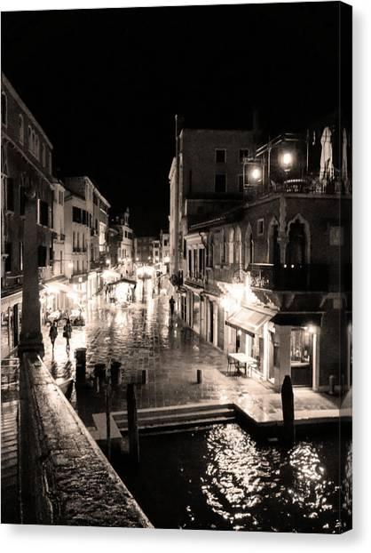 Mysterious Venice Monochrom Canvas Print