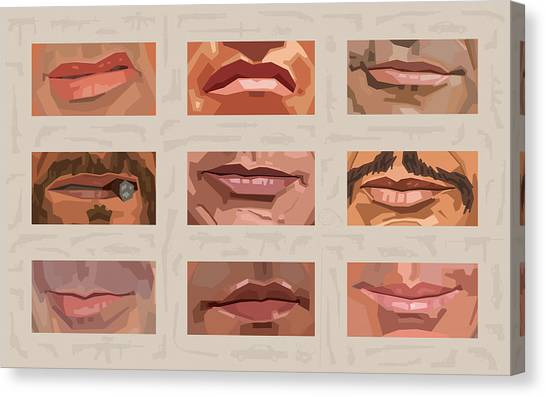 Stallone Canvas Print - Mystery Mouths Of The Action Genre by Mitch Frey