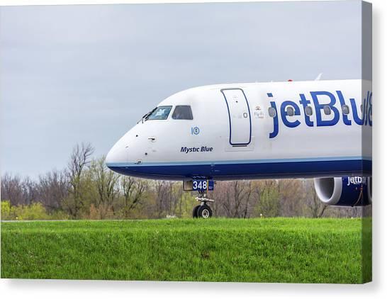 Jetblue Canvas Print - Mystic Blue by Guy Whiteley