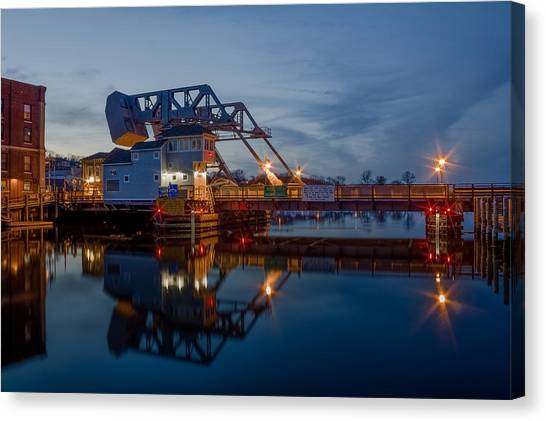 Mystic Drawbridge At Twilight Canvas Print