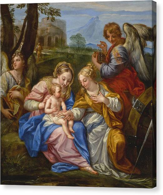 Procaccini Canvas Print - Mystic Marriage Of Saint Catherine Of Alexandria by Andrea Procaccini