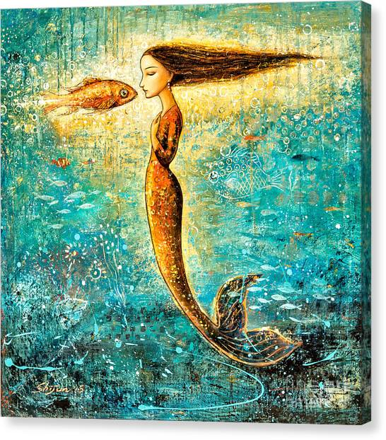 Mermaids Canvas Print - Mystic Mermaid Iv by Shijun Munns