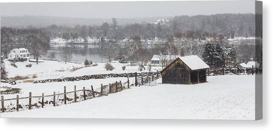 Mystic River Winter Landscape Canvas Print