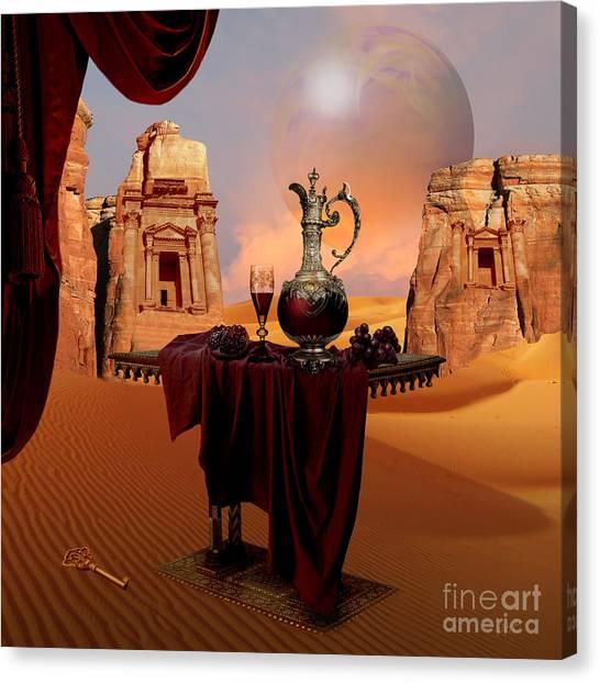 Canvas Print featuring the digital art Mystic Ruins In Desert by Alexa Szlavics