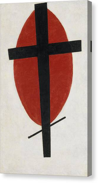 Suprematism Canvas Print - Mystic Suprematism, Black Cross On Red Oval by Kazimir Malevich