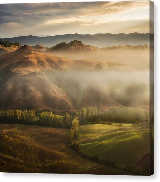 Fog Canvas Print - Mystical Waving Fields Tuscany by Jarek Pawlak