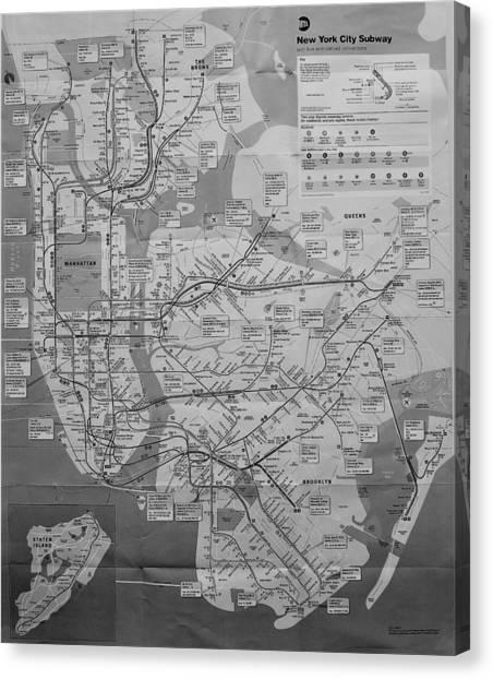 New York City Subway Map Black And White.New York City Subway Map Canvas Prints Fine Art America