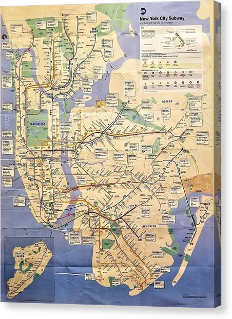 N Y C Subway Map Canvas Print