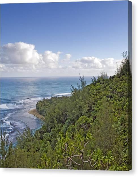 Na Pali Coast From The Kalalau Trail On Kauai Hawaii Canvas Print by Brendan Reals