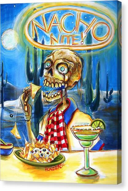 Diners Canvas Print - Nacho Nite by Heather Calderon