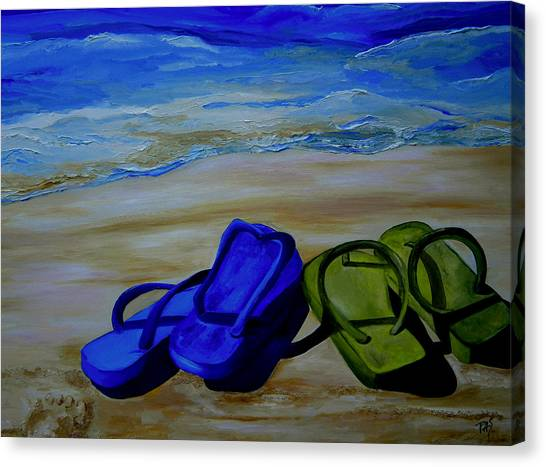 Naked Feet On The Beach Canvas Print