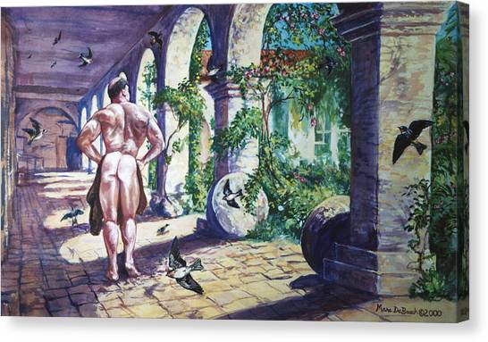 Naked In The Cloisters Canvas Print
