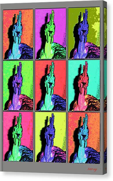 Naked Neck Rooster Warhol Style Canvas Print