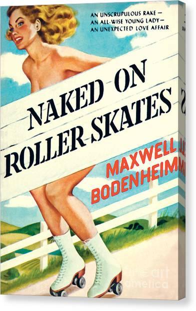 Naked On Roller Skates Canvas Print
