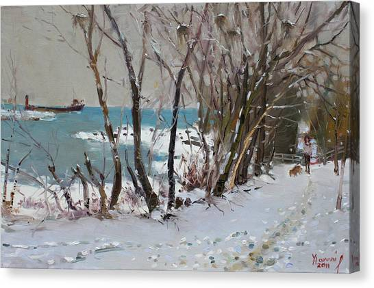 Trees In Snow Canvas Print - Naked Trees By The Lake Shore by Ylli Haruni