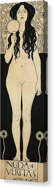Long Hair Canvas Print - Naked Truth by Gustav Klimt