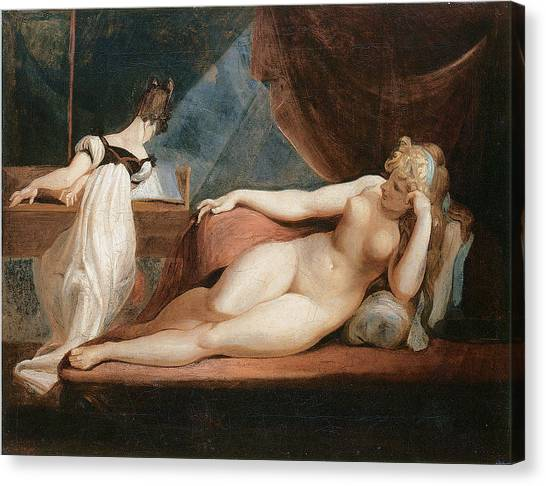 Naked Woman And Woman Playing The Piano Canvas Print by Johann Heinrich Fussli
