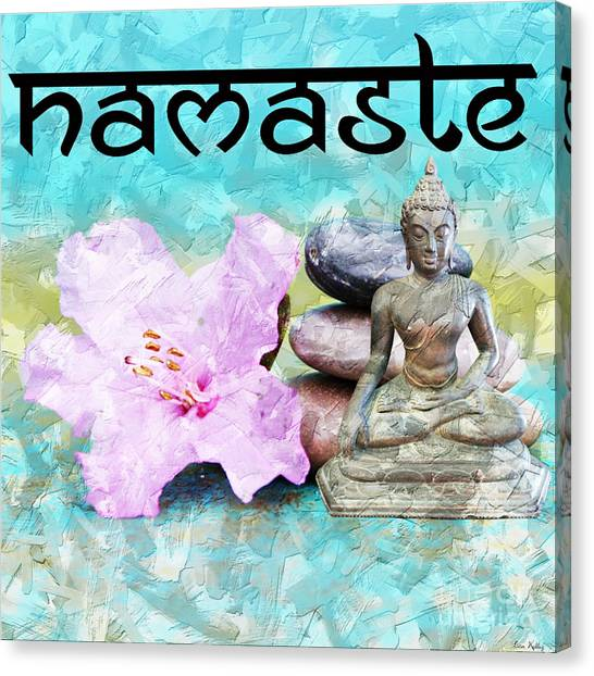 Canvas Print featuring the mixed media Namaste Buddha by Lita Kelley