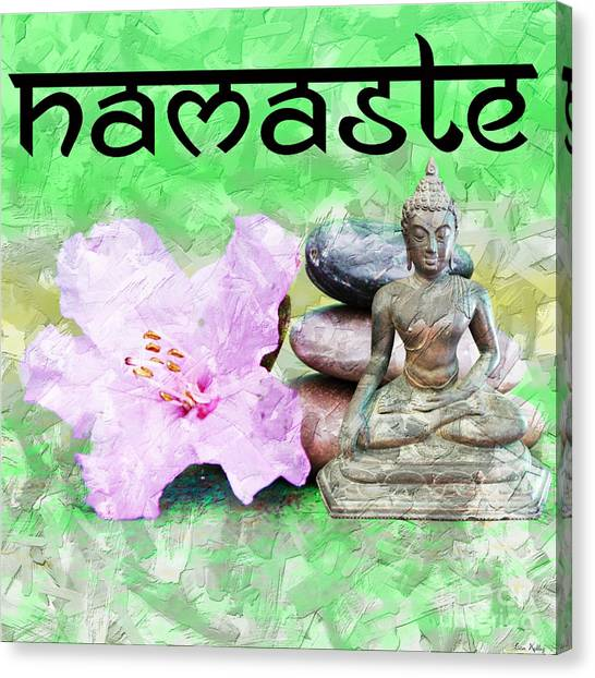 Canvas Print featuring the mixed media Namaste Buddha. V2 by Lita Kelley