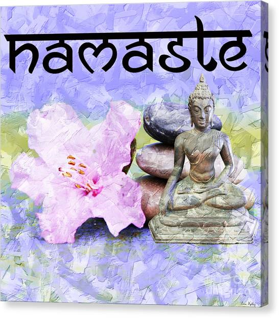 Canvas Print featuring the mixed media Namaste Buddha. V3 by Lita Kelley