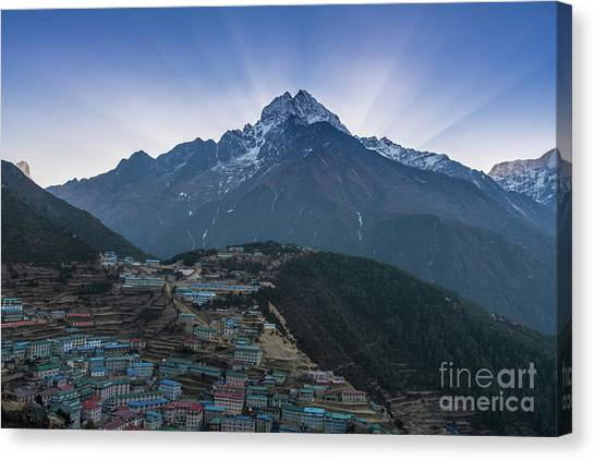 K2 Canvas Print - Namche And Thamserku Peak Morning Sunrays by Mike Reid
