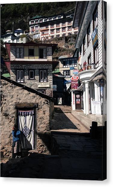 Canvas Print featuring the photograph Namche Bazaar Hotelier by Owen Weber