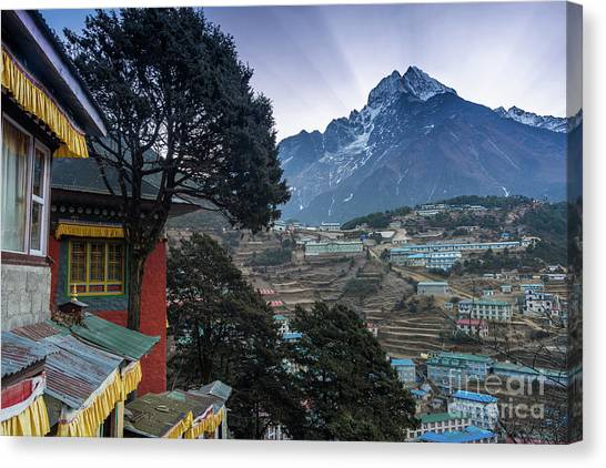 K2 Canvas Print - Namche Monastery Morning Sunrays by Mike Reid
