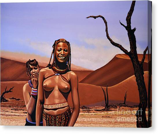 Namib Desert Canvas Print - Himba Girls Of Namibia by Paul Meijering