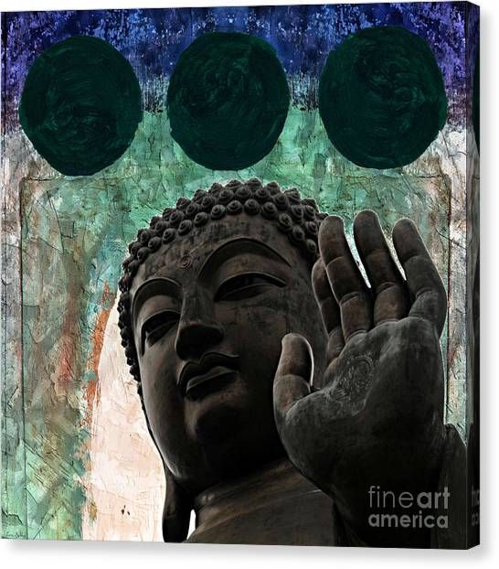 Canvas Print featuring the painting Namo Buddhaya by Lita Kelley