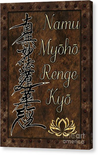 Canvas Print featuring the mixed media Namu Myoho Renge Kyo by Lita Kelley