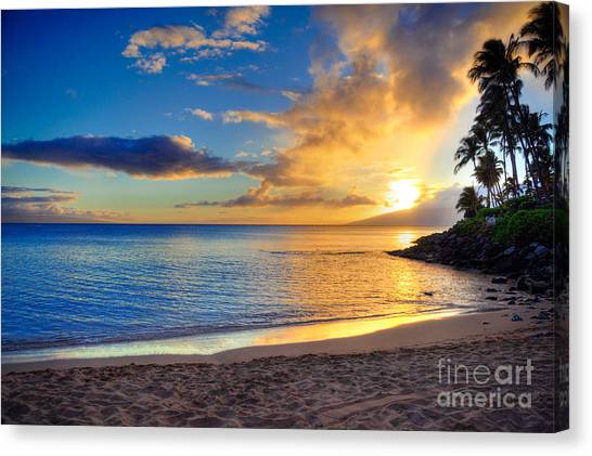 Palm Trees Sunsets Canvas Print - Napili Bay Maui by Kelly Wade
