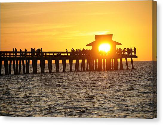 Naples Florida Sunset Pier Canvas Print by Keith Lovejoy