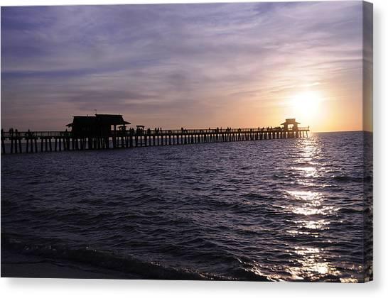 Naples Pier Sundown Canvas Print by Keith Lovejoy