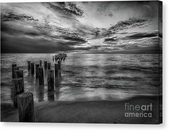 Naples Sunset In Black And White Canvas Print