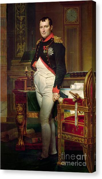 Rulers Canvas Print - Napoleon Bonaparte In His Study At The Tuileries, 1812 by Jacques Louis David