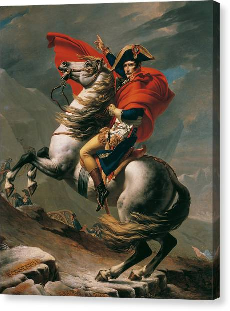 Neoclassical Art Canvas Print - Napoleon Crossing The Alps, 1801 by Jacques-Louis David