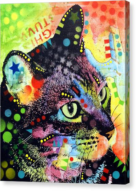 Mixed-media Canvas Print - Nappy Cat by Dean Russo Art