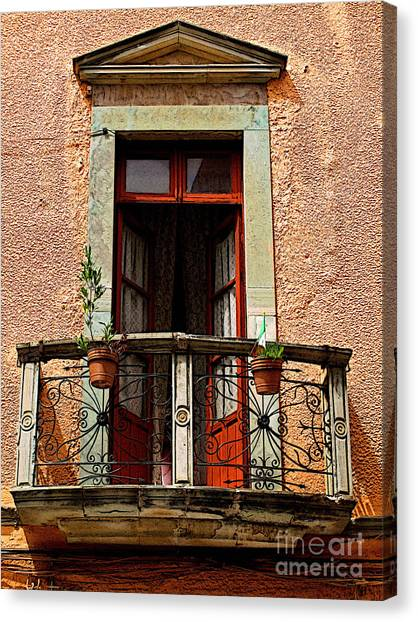 Narrow Red Window Canvas Print by Mexicolors Art Photography