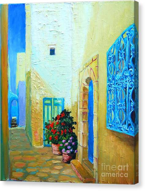 Narrow Street In Hammamet Canvas Print