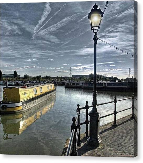Marinas Canvas Print - Narrowboat Idly Dan At Barton Marina On by John Edwards