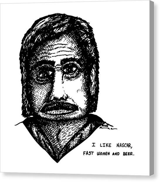 Nascar Comic Canvas Print by Karl Addison