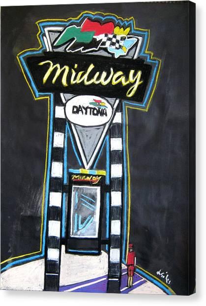 Daytona 500 Canvas Print - Nascar Midway by Lesley Giles