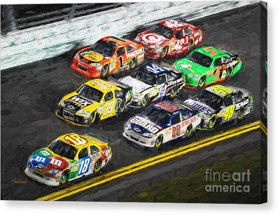Daytona 500 Canvas Print - Nascar Night Racing by Garland Johnson