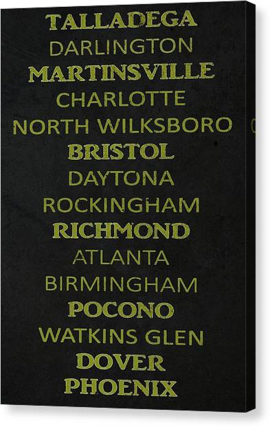 Daytona 500 Canvas Print - Nascar Track List by Dan Sproul