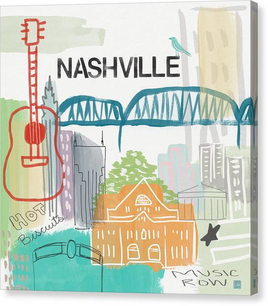 Printers Canvas Print - Nashville Cityscape- Art By Linda Woods by Linda Woods