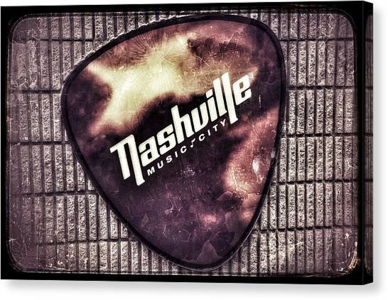 Guitar Picks Canvas Print - Nashville Music City - Guitar Pick by Debra Martz