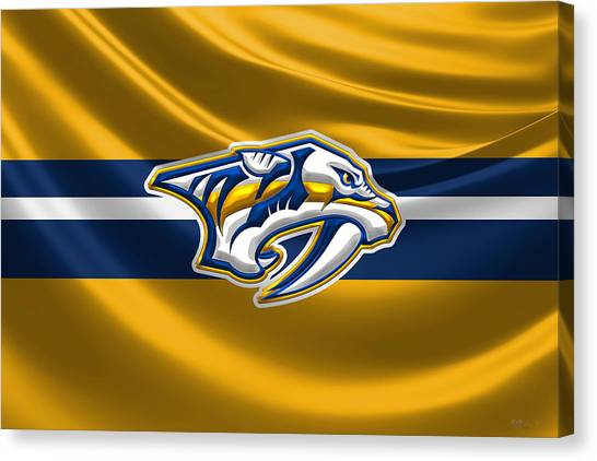 Nashville Predators Canvas Print - Nashville Predators - 3 D Badge Over Silk Flag by Serge Averbukh